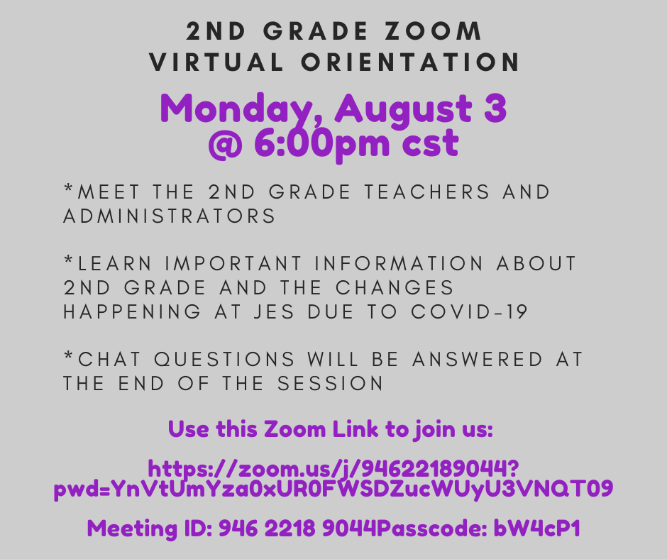 2nd Grade Orientation on Zoom