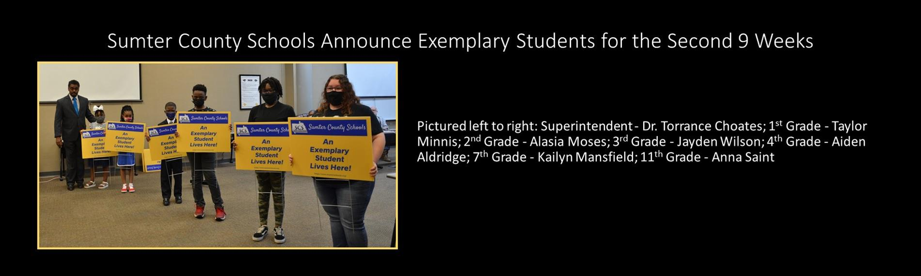 Sumter County Schools Announce Exemplary Students for the Second 9 weeks