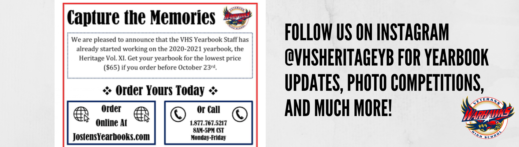 Order your yearbook today for $65 before Oct 23, 2020