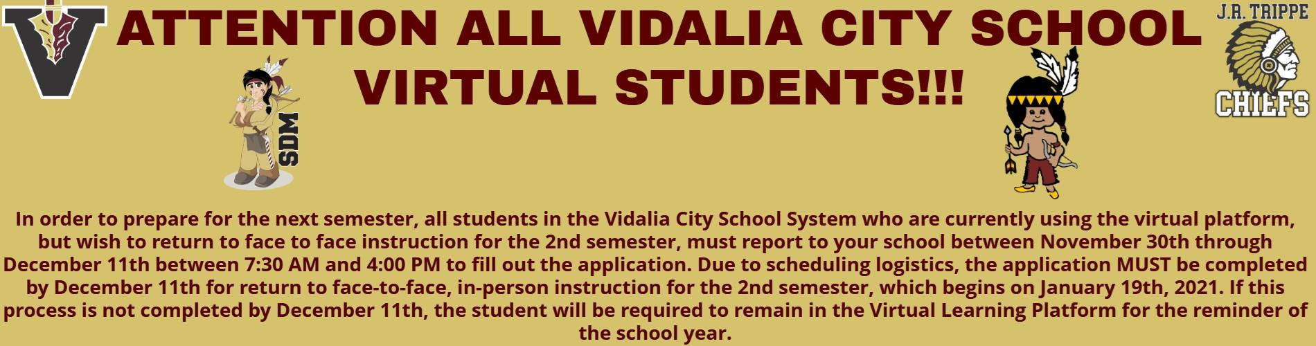 Virtual Student Info for for 2nd Semester