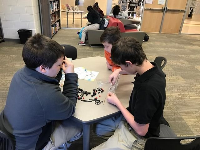 Students work together on a Makerspace activity