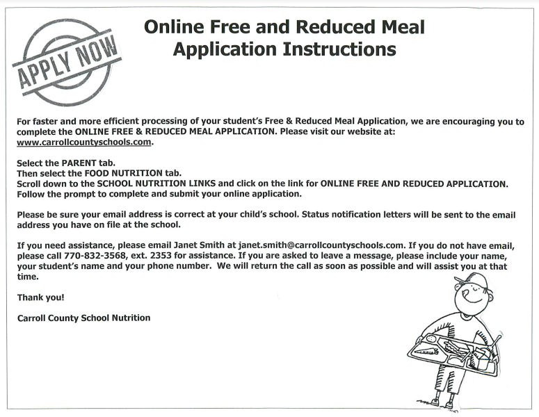 Free & Reduced Meal Application Instructions