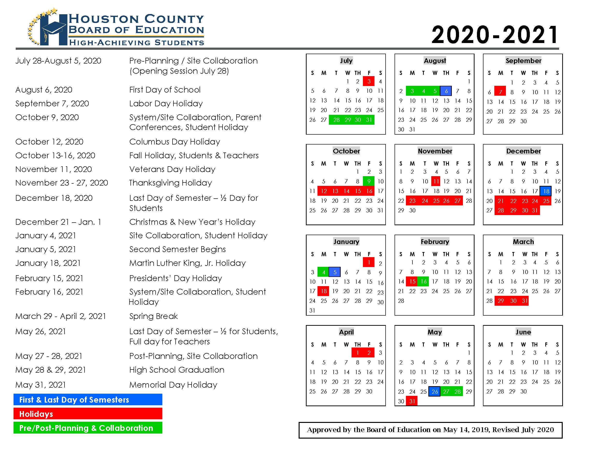 Board Of Education Calendar 2021 Calendar   Houston County Schools