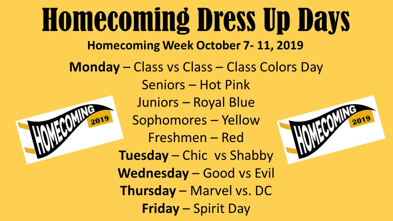 Homecoming Dress Up Days