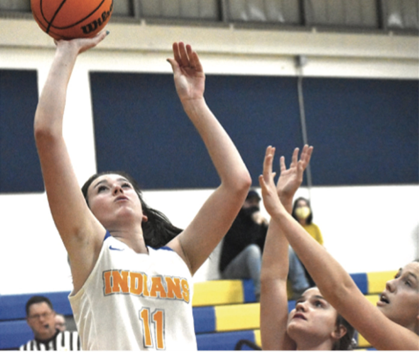 Southern's Olivia Kerns goes up for a layup against Leetonia on Monday night (Photo by Justin Golba - Evening Review 12/15/2020)