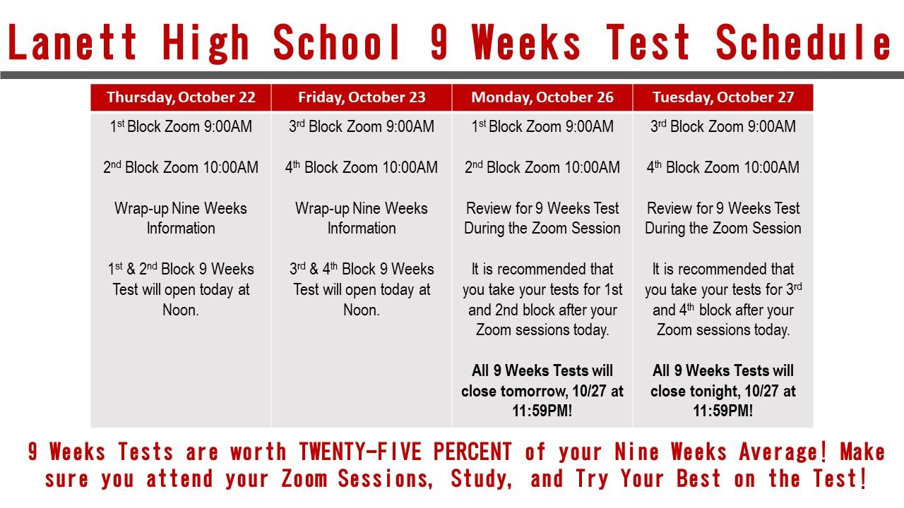 LHS 9-Weeks Test Schedule