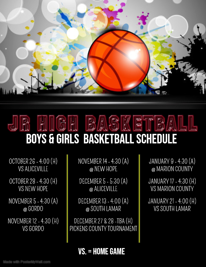 Jr. High Basketball Schedule