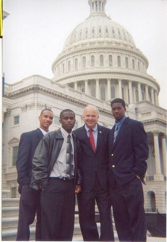 Leo Coleman, Antonio Rayord, Congressman Jo Bonner, and Norman Griffin meet on the Capital steps during Close-up's annual trip.