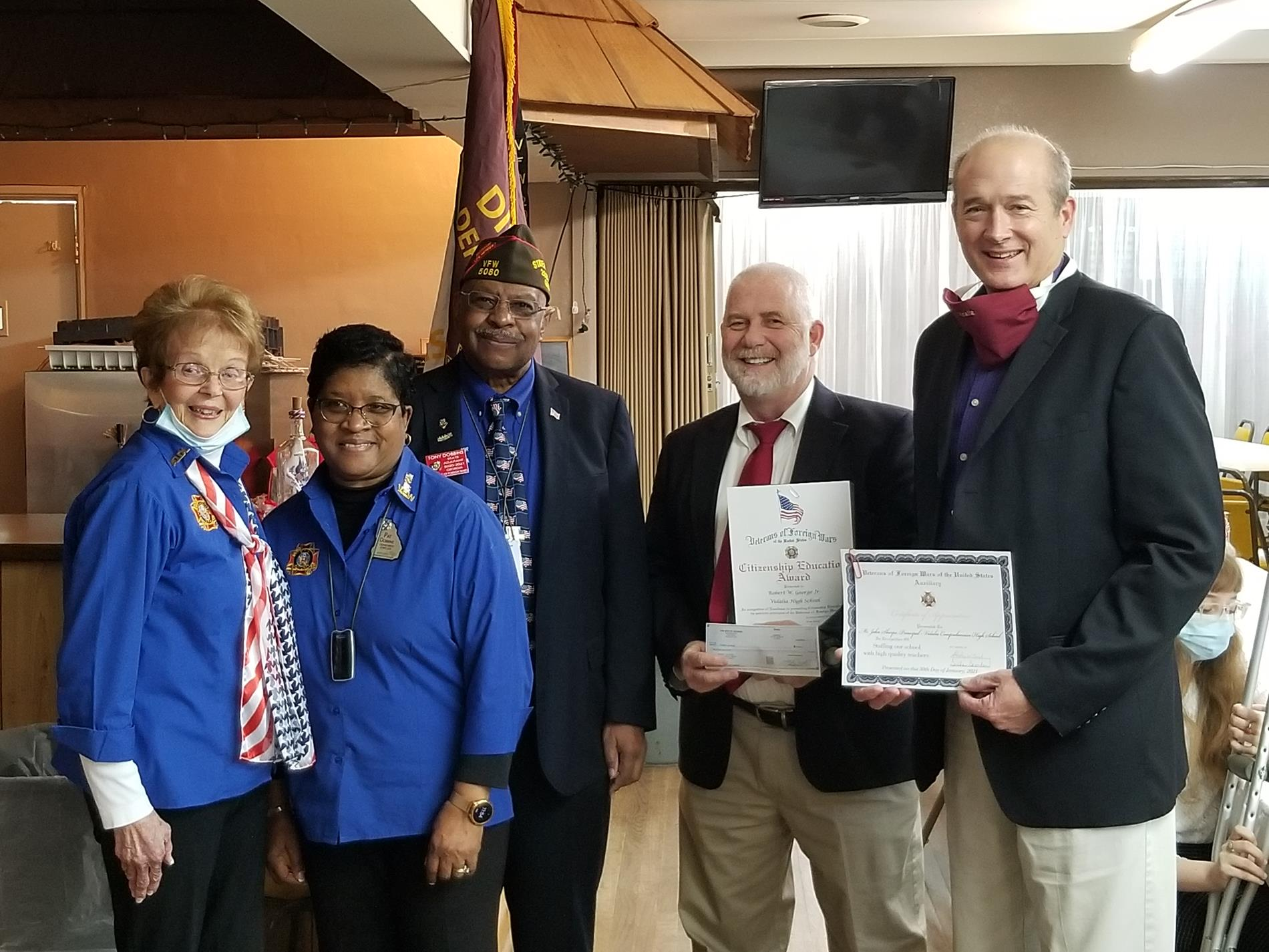 Shirley Curl (VFW Ladies Auxiliary), Pat Dobbins (Department Jr. Vice President), Tony Dobbins (State Adjutant), Bobby George (State VFW Teacher of the Year) and John Sharpe (Principal of Vidalia High School).