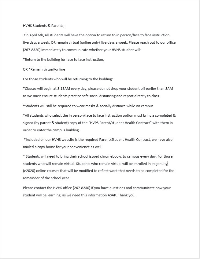 HVHS letter to parents and students