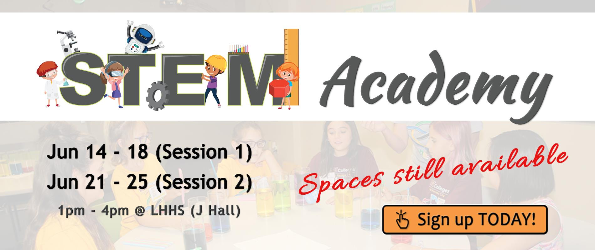 clipart of STEM students with link to academy registration