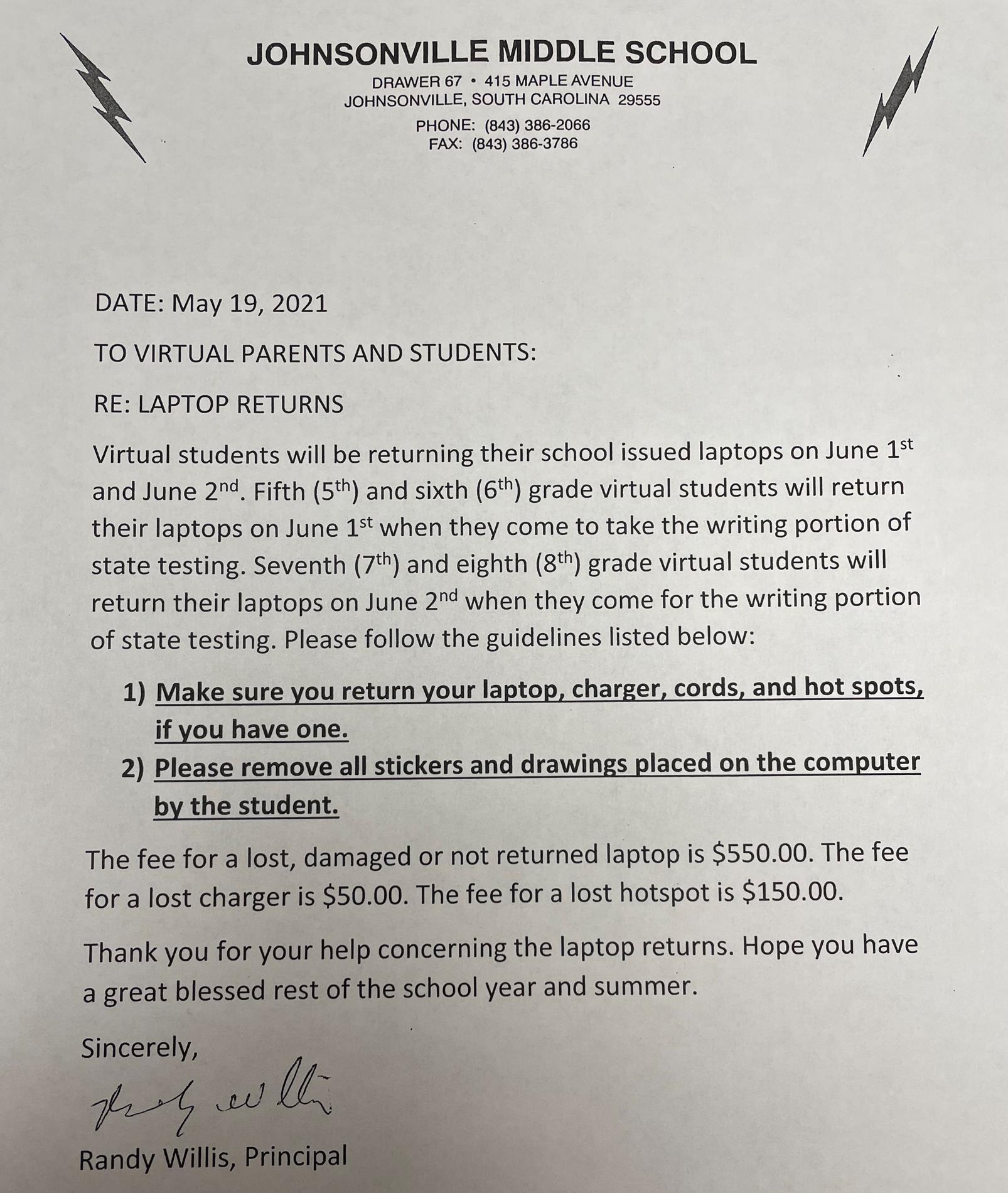 Laptop Return Letter