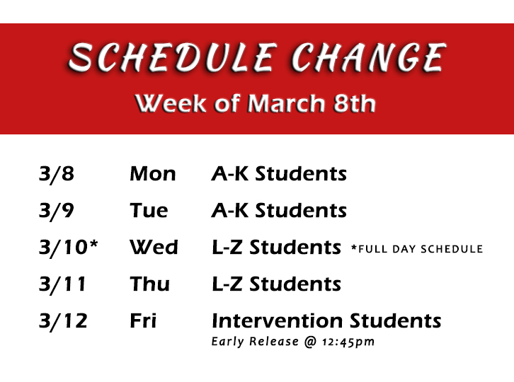 image for schedule update for week of March 8th