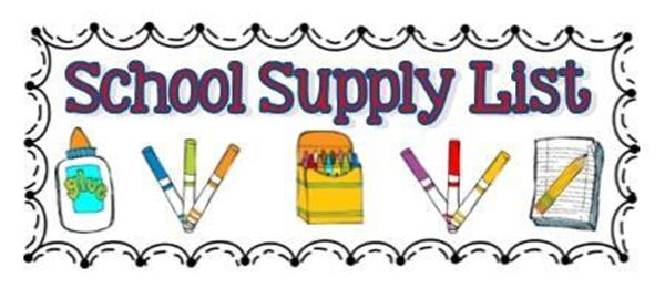 School Supply List title and images