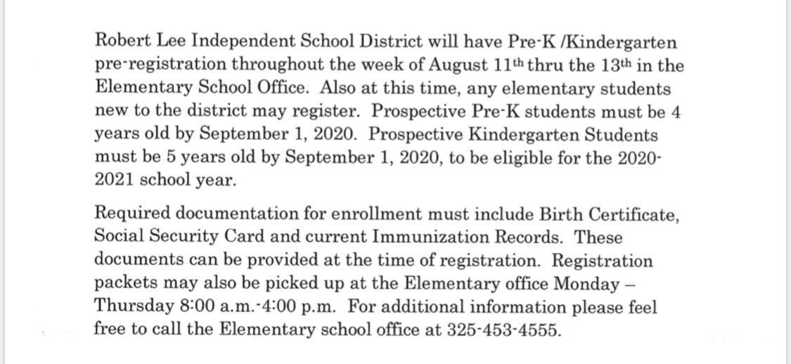 Pre-k K registration