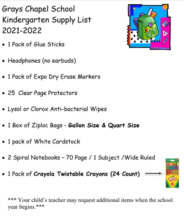 Kindergarten Supply List
