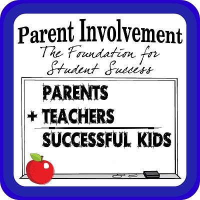 outlined in blue with text which reads Parent Involvement the foundation for student success