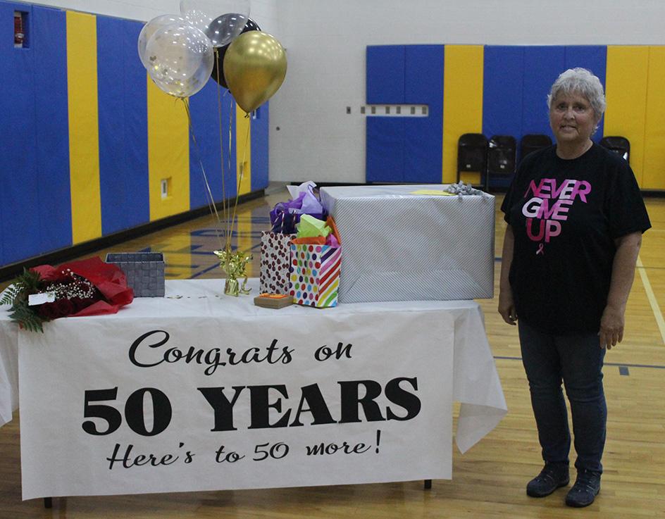 SLES secretary Sandy Lewis celebrates 50 years employment