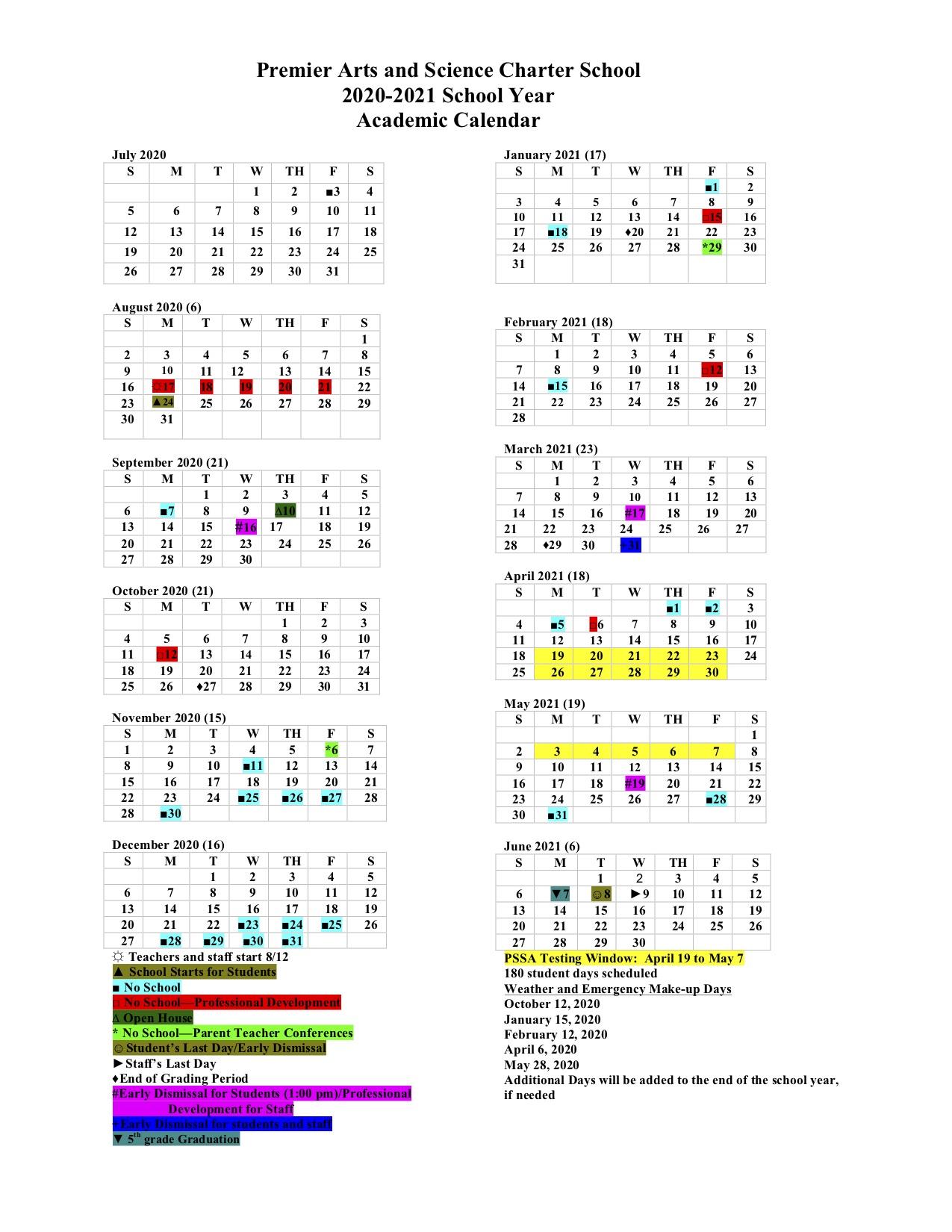 2020 - 2021 Calendar