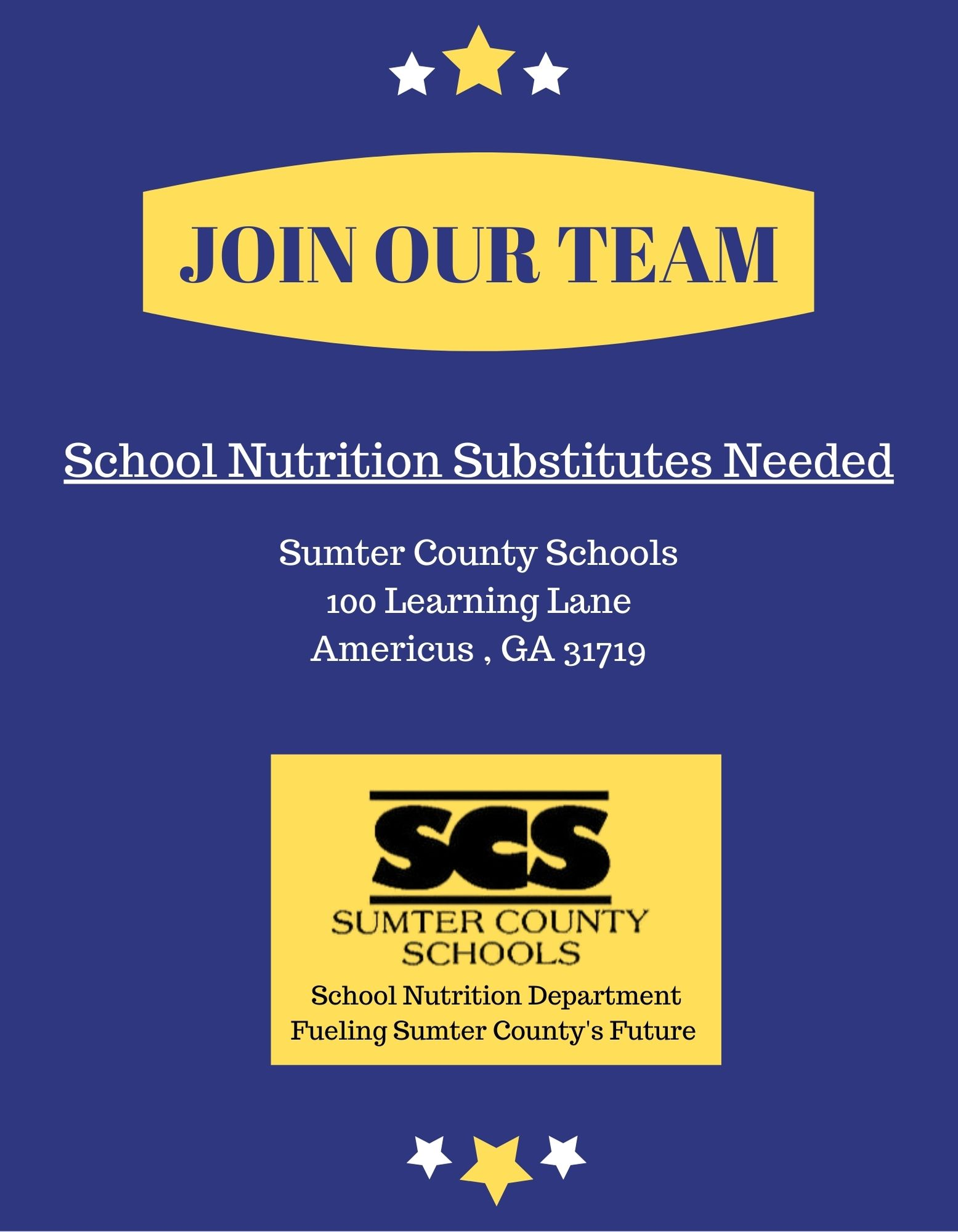 School Nutrition Substitutes Needed