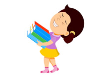 cartoon girl carrying books