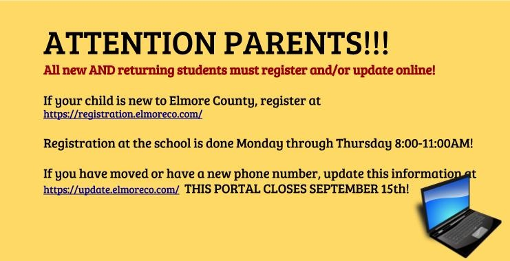 Website information for registering new students and updating information for existing students