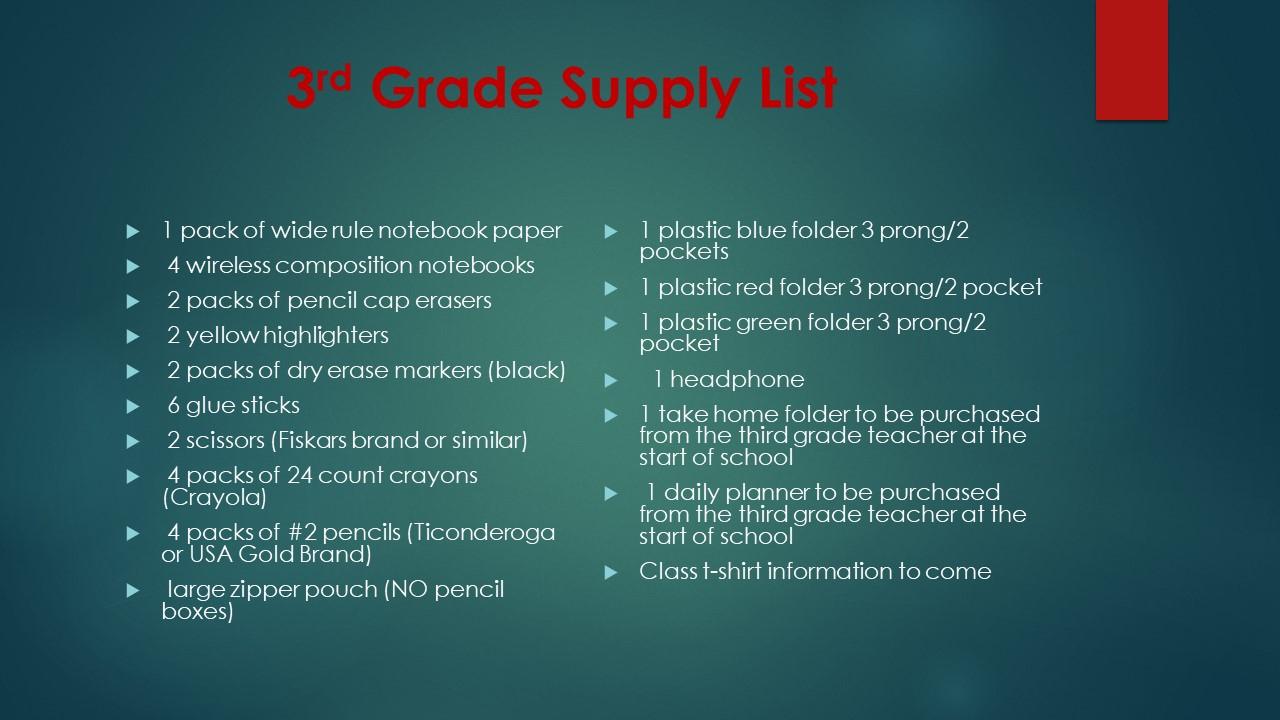 3rd Supplies