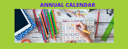 Annual Calendar Banner with Calendar and School Supplies