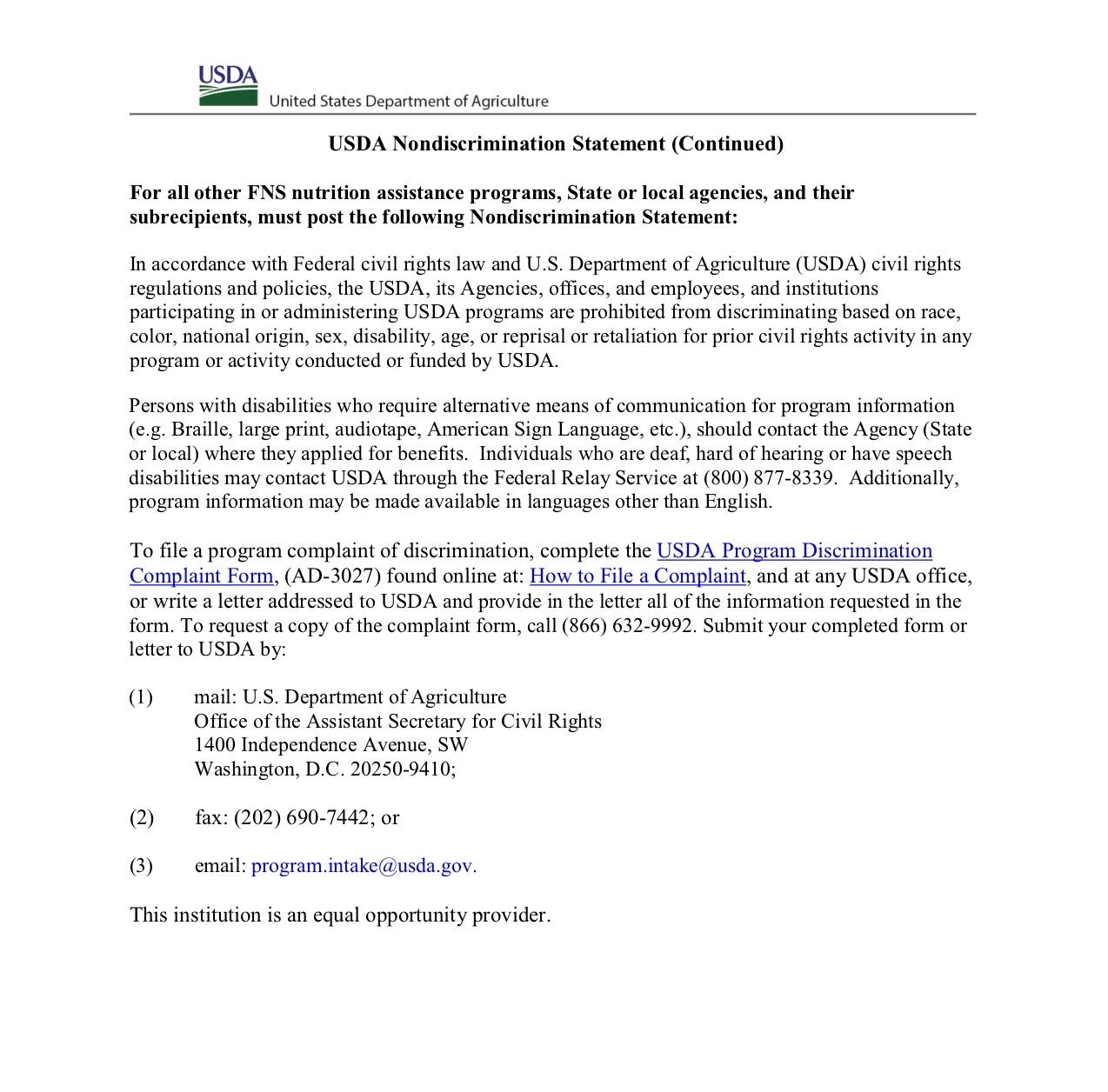 USDA Nondiscrimination Statement page 2