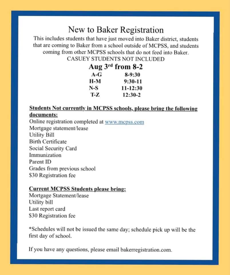 New to Baker Registration Information