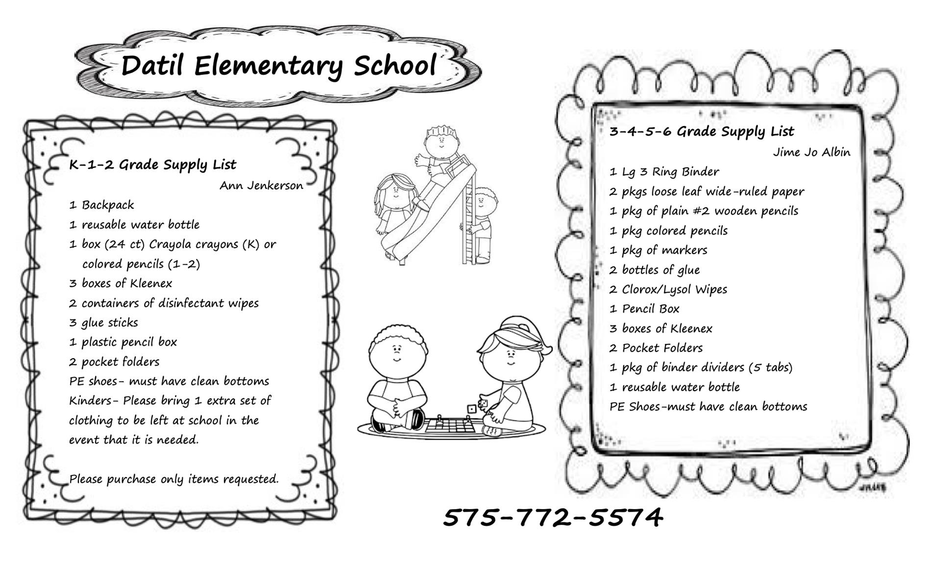 Datil Elementary Classrooms Supply Lists