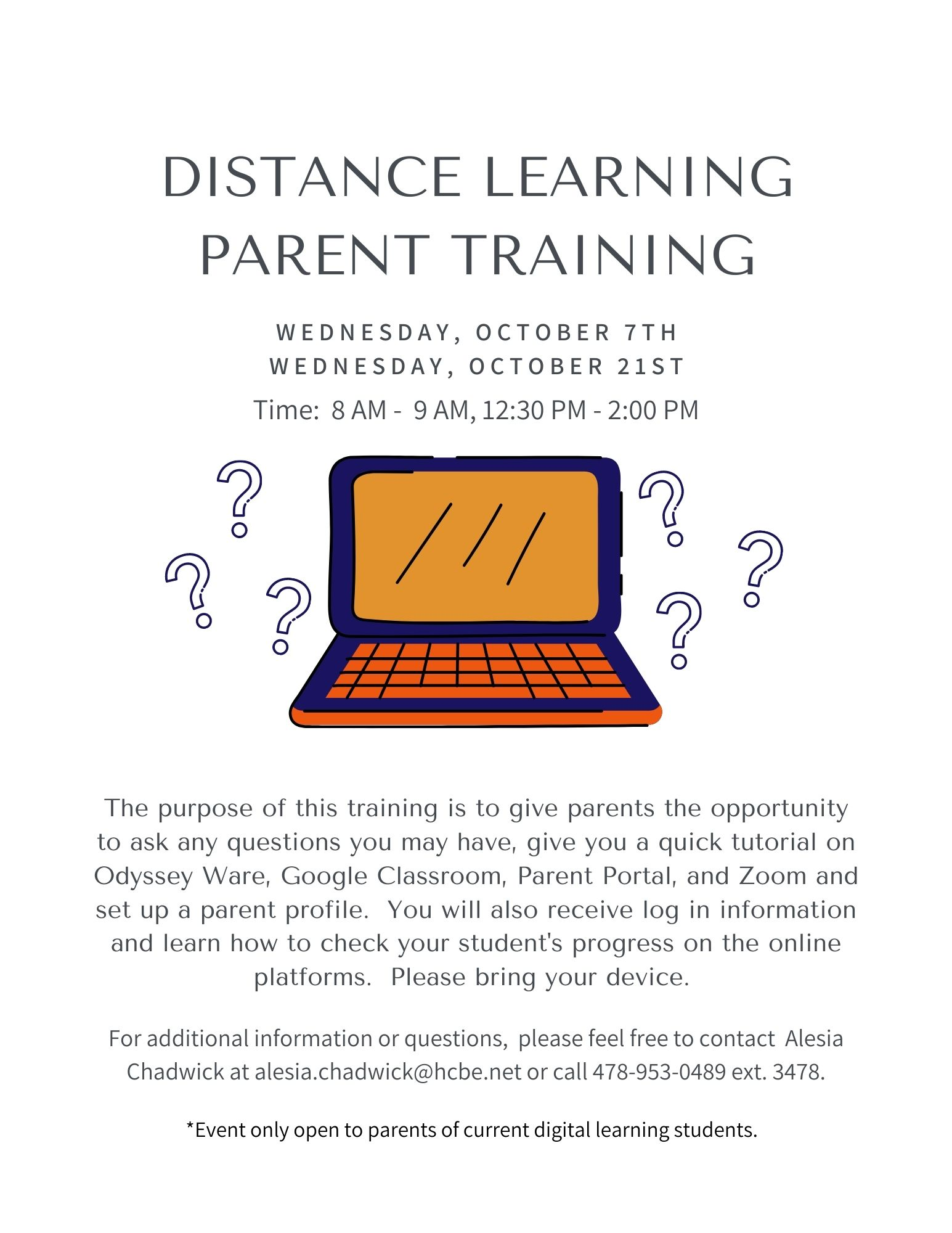 Distance Learning Parent Training