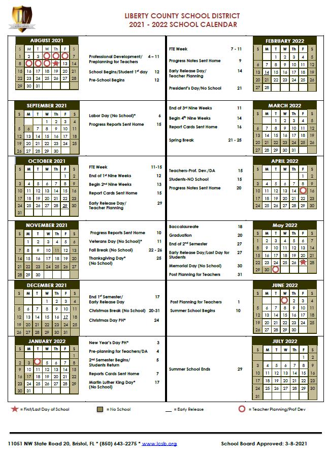 2021-22 School Calendar image
