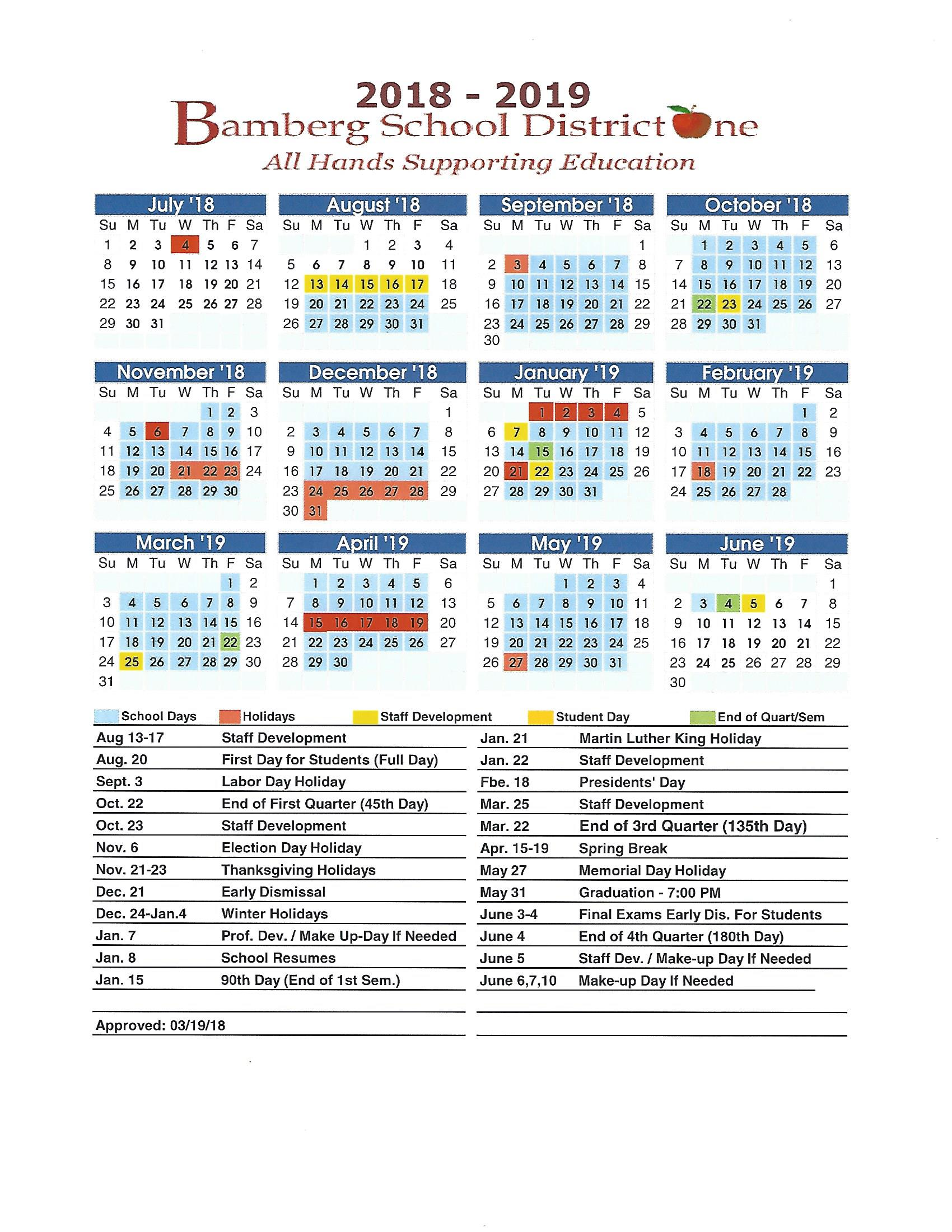 Bamberg School District One Calendar 2018-2019