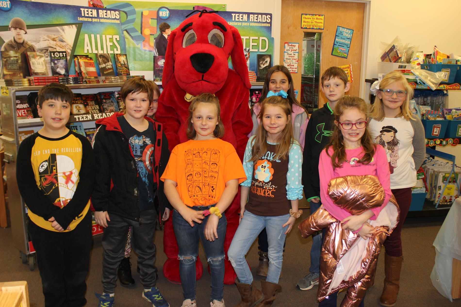 book character Clifford with students