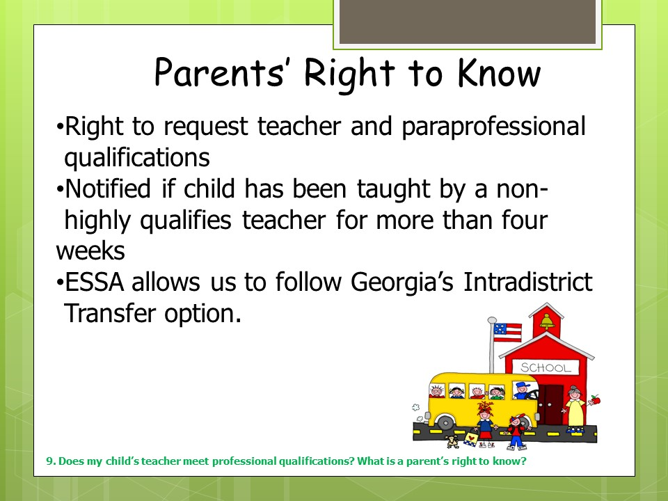 Parent's Rights to Know