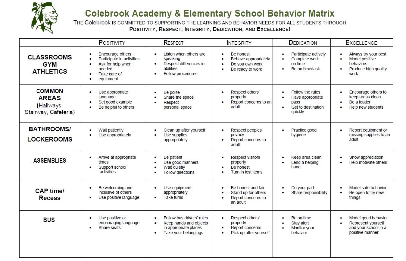 PRIDE Behavior Matrix