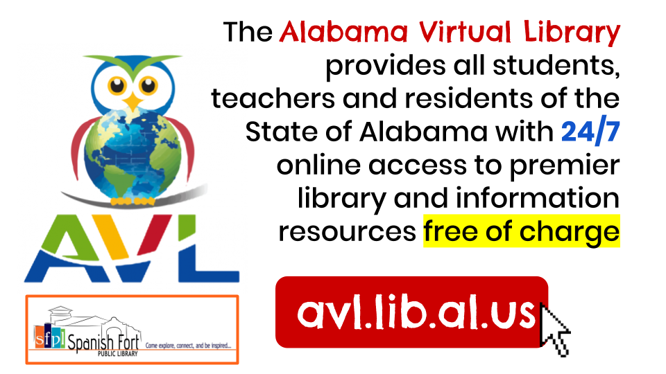 Alabama Virtual Library databases are available to all Alabama residents online anytime.
