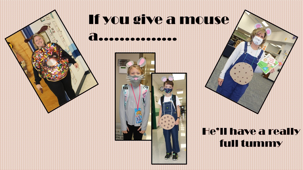 Students and teachers dressed as the If you give a mouse character