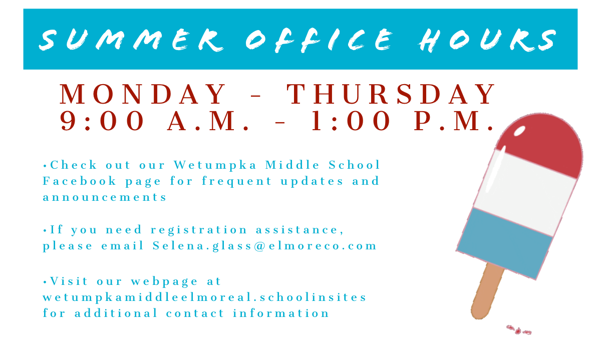 Summer Hours Listed as 9 am to 1 pm Monday through Thursday
