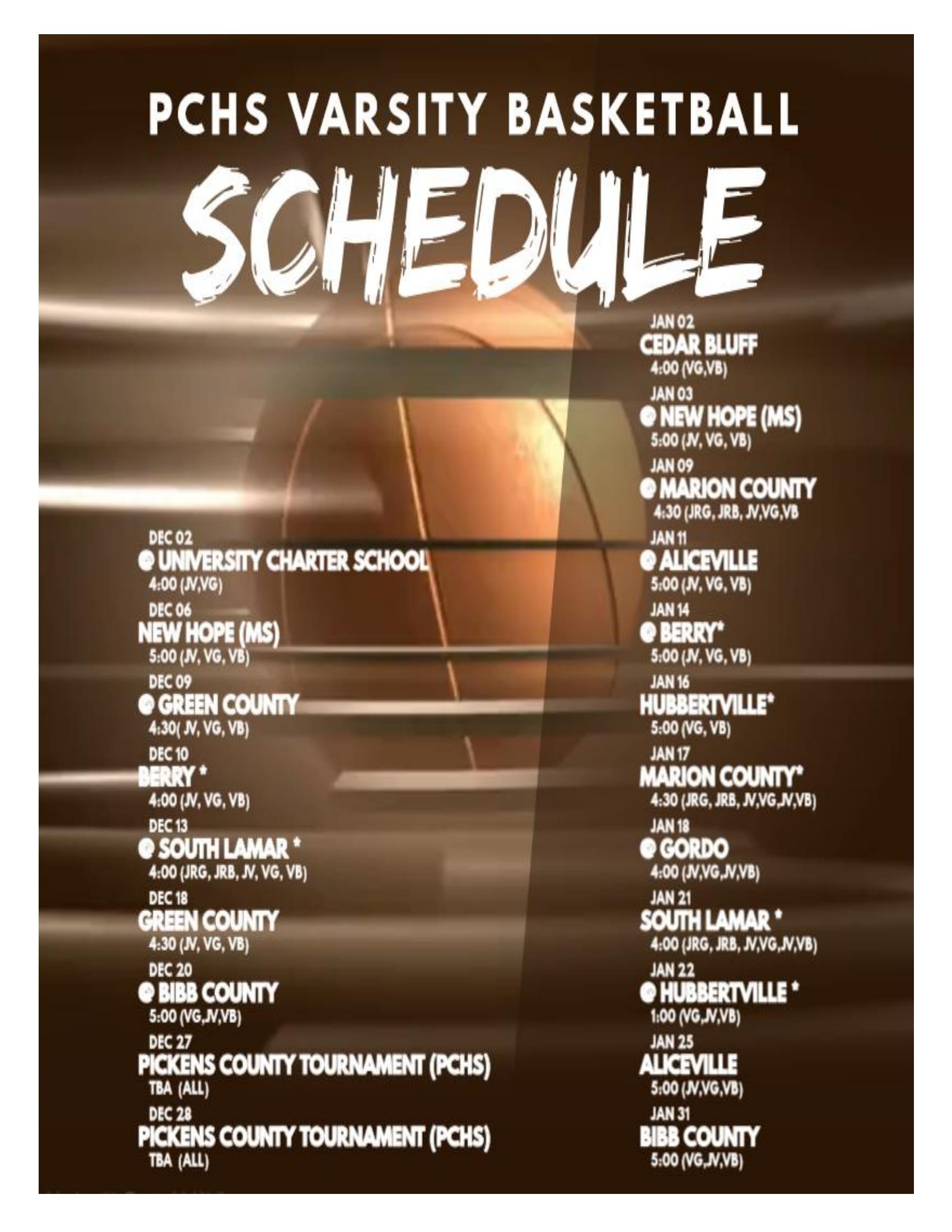 Varsity Basketball Schedule