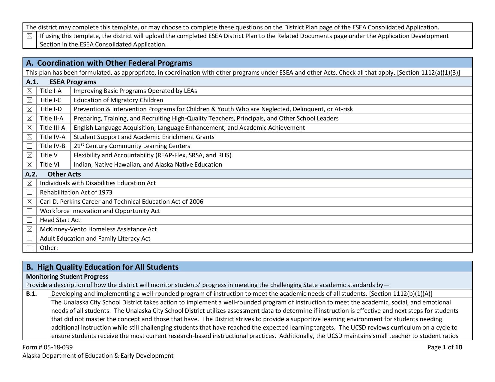ESEA District Plan