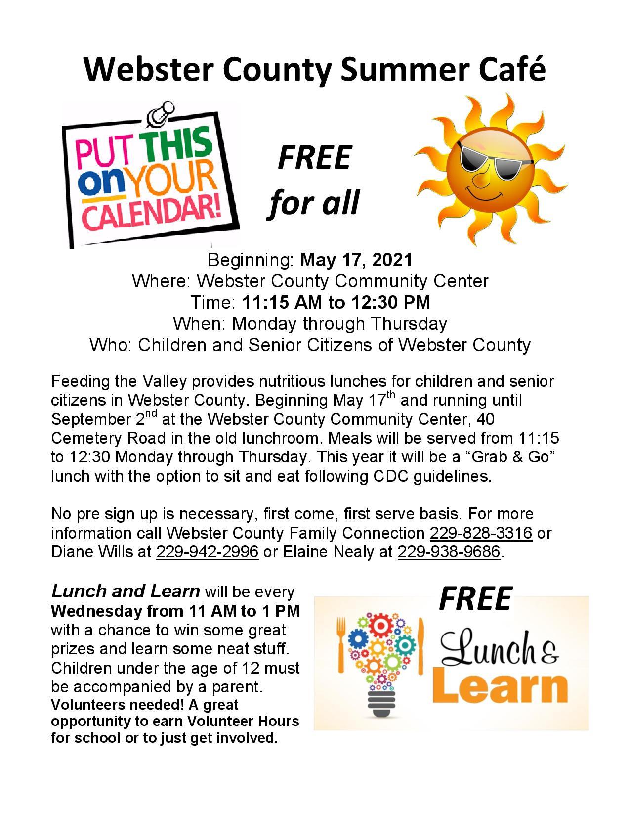 Webster County Summer Cafe'
