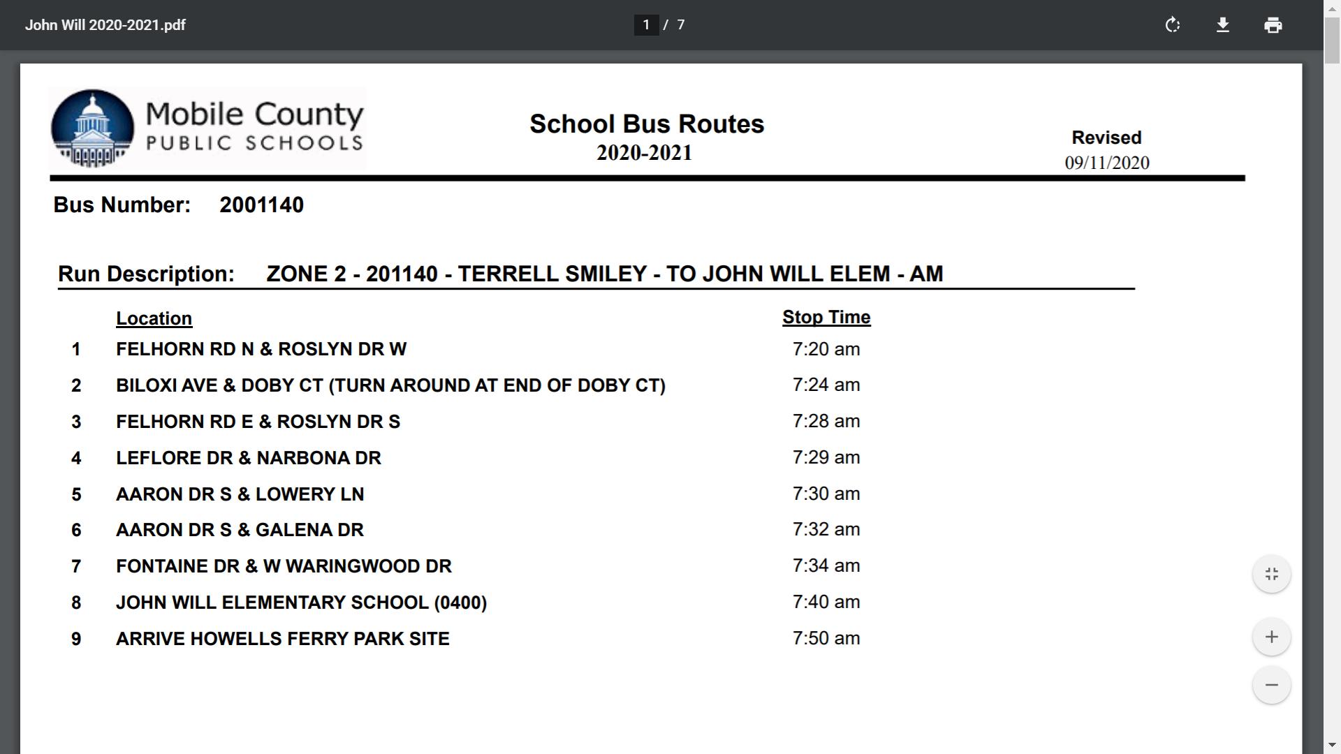 20-21 Bus Routes
