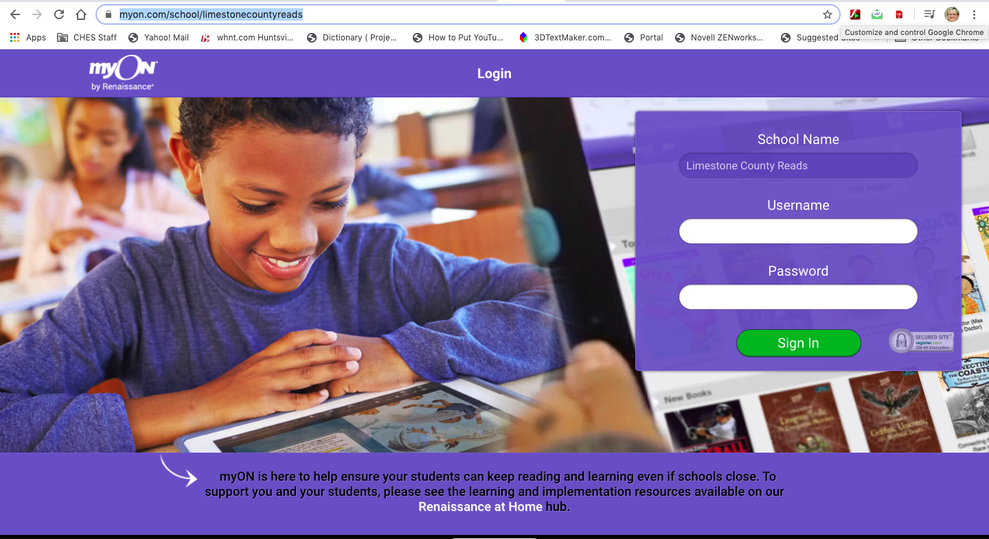 Login Page for MyOn