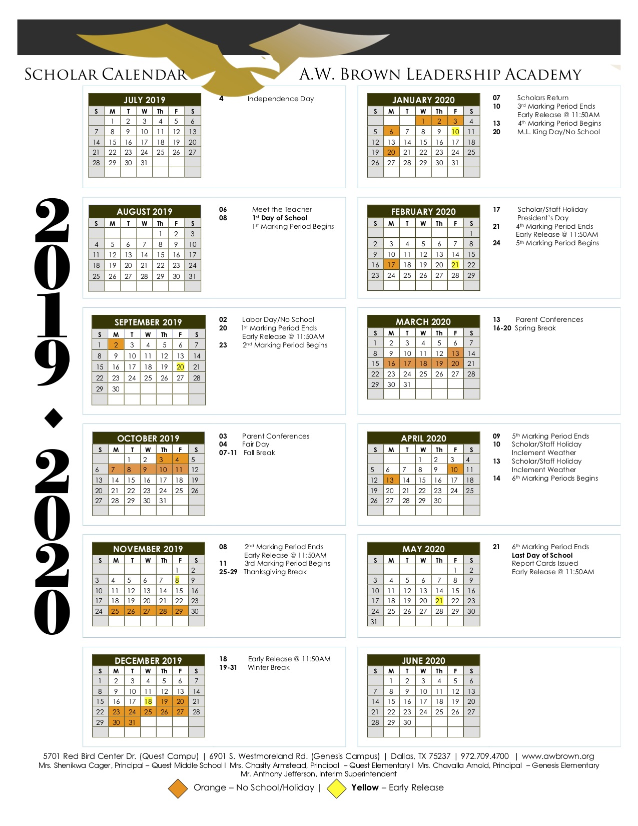 2019-2020 Scholar Calendar