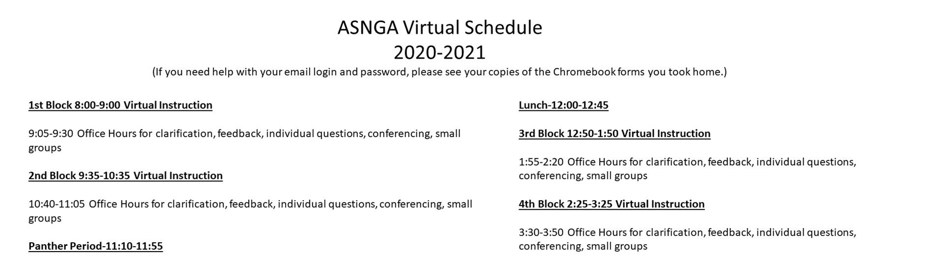 ASNGA Virtual Schedule