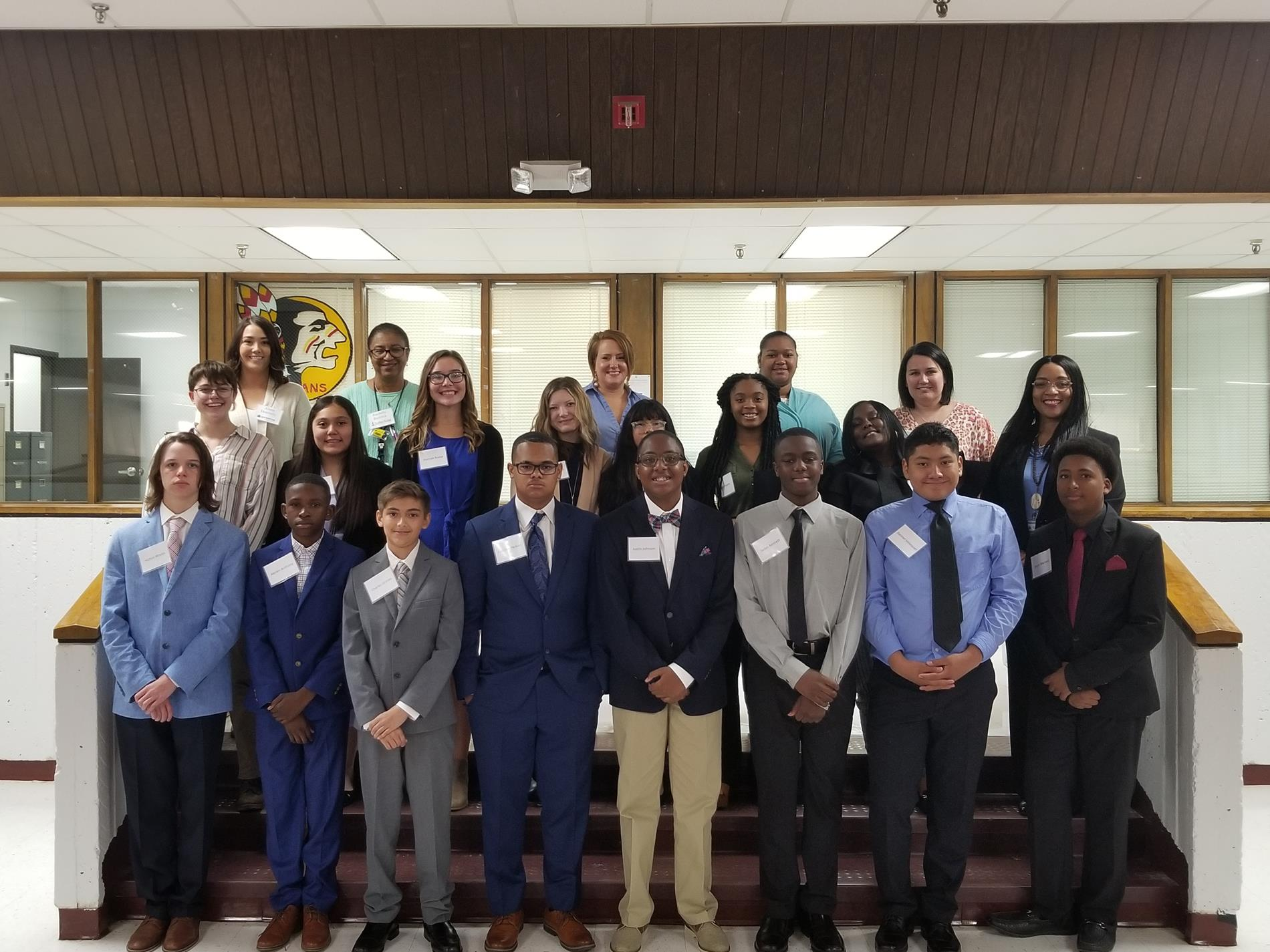 Members of the J.R. Trippe 8th Grade Foundation to Investing and Finance class