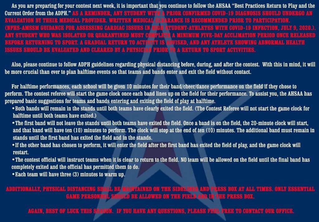 Covid Guidelines Regarding Football Games
