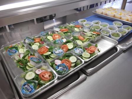 Fresh Salad and Fruit Options in the Cafeteria